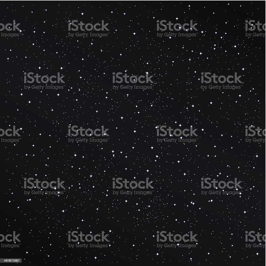 Starry night background vector art illustration
