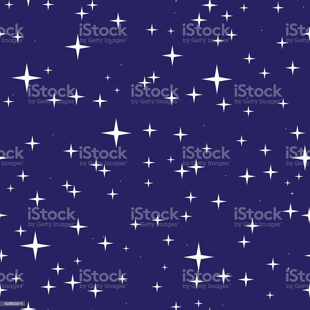 Starry night sky seamless pattern vector art illustration