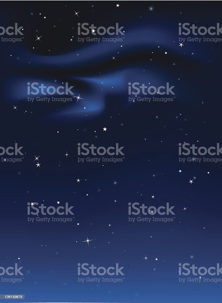 Starry night sky with bottom earthy glow royalty-free stock vector art
