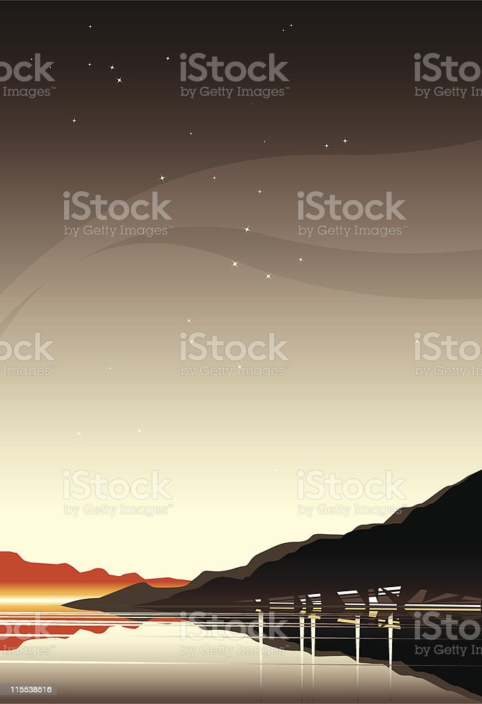 Starry seascape royalty-free stock vector art
