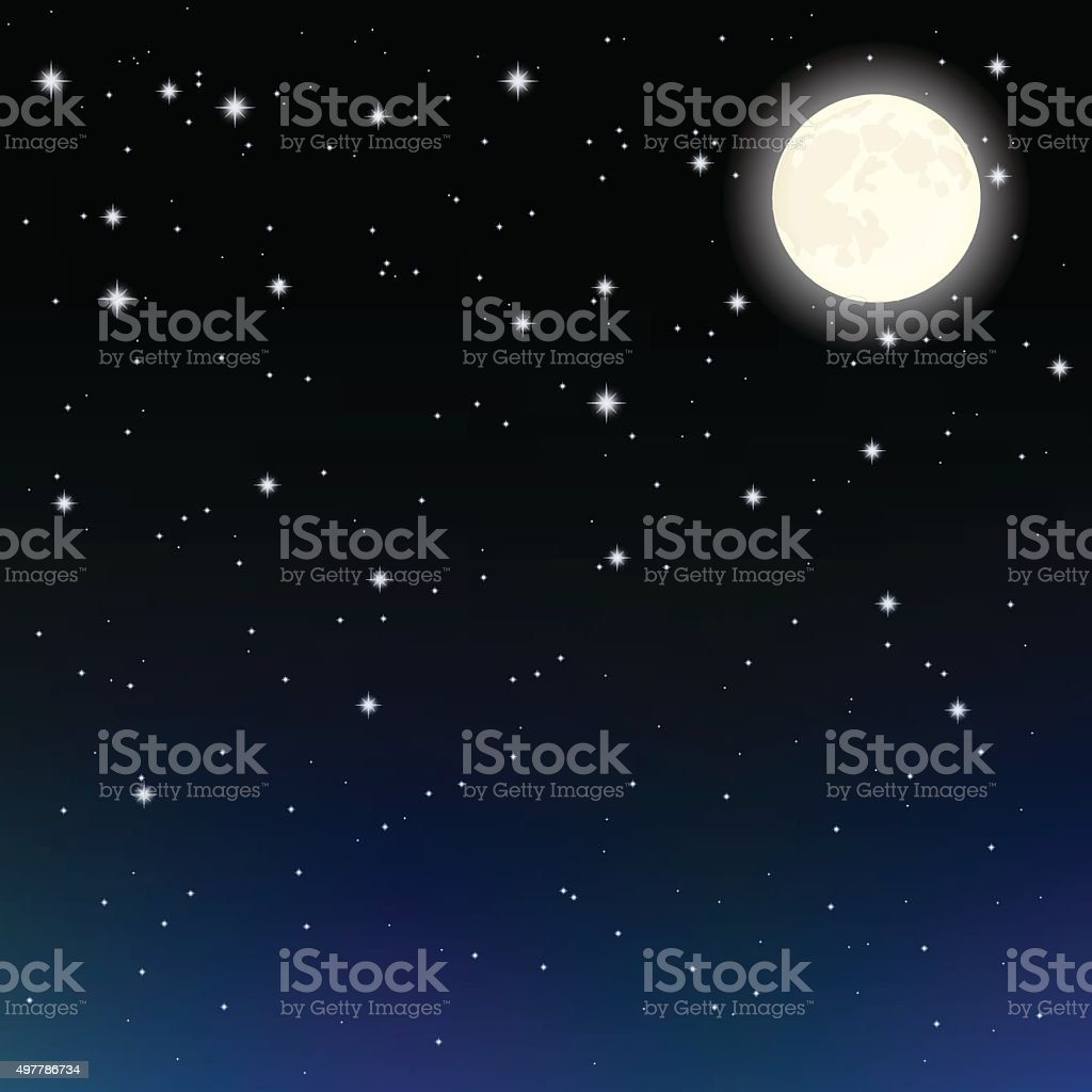 starry sky and the moon vector art illustration