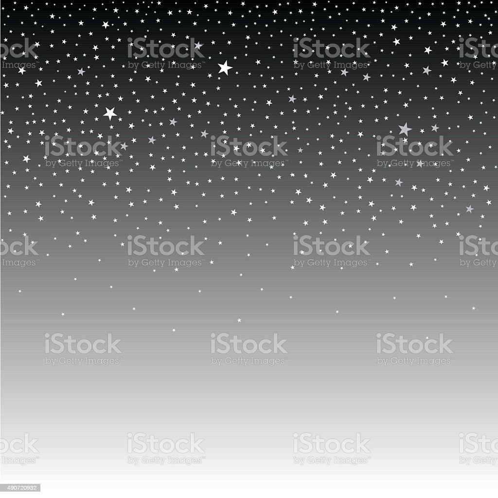Starry sky, night vector art illustration