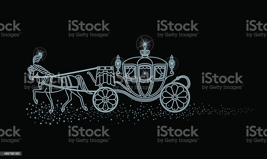 Starry sky of horse-drawn carriage vector art illustration