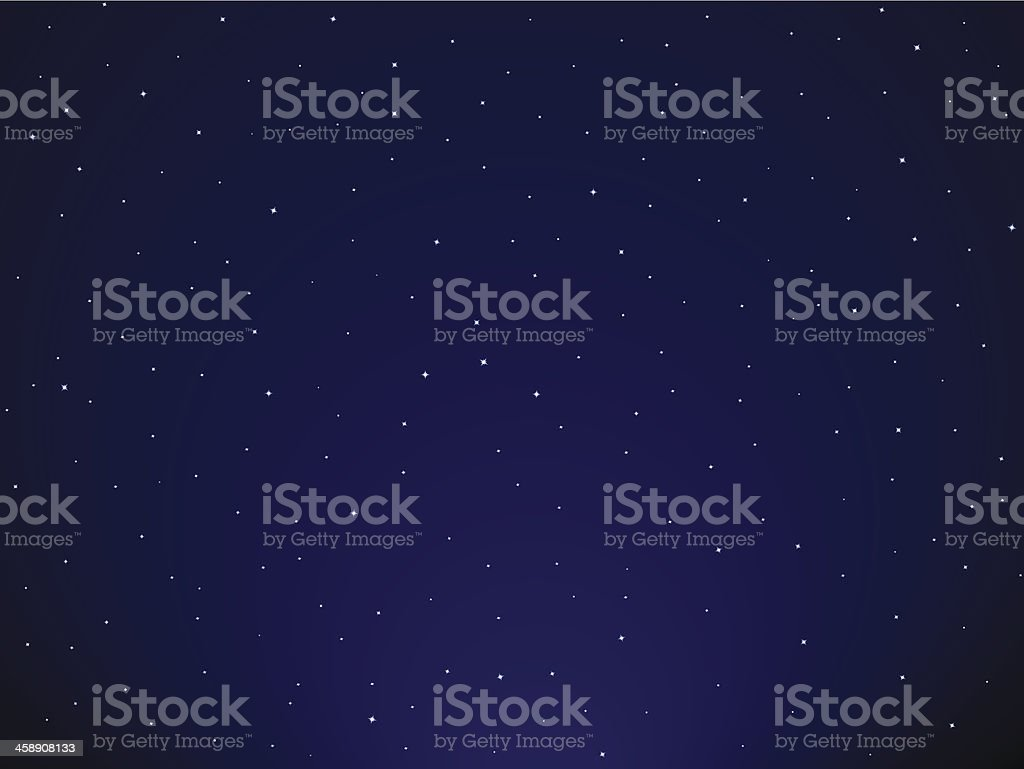 Starry sky vector art illustration