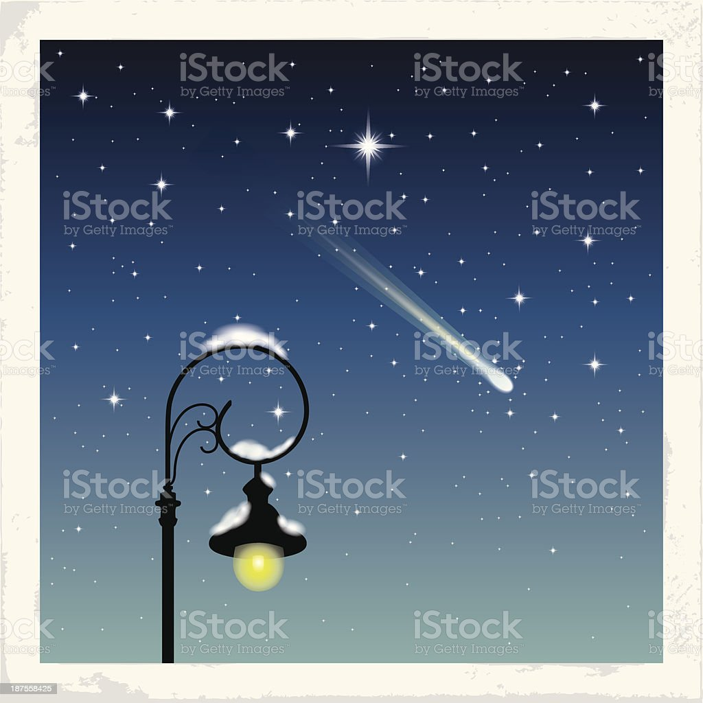 Starry Winter Night vector art illustration