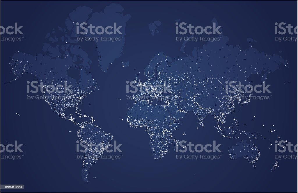 Starry World, Earth's city lights map vector art illustration