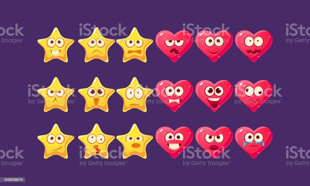 Stars And Hearts Emoji Character Set vector art illustration
