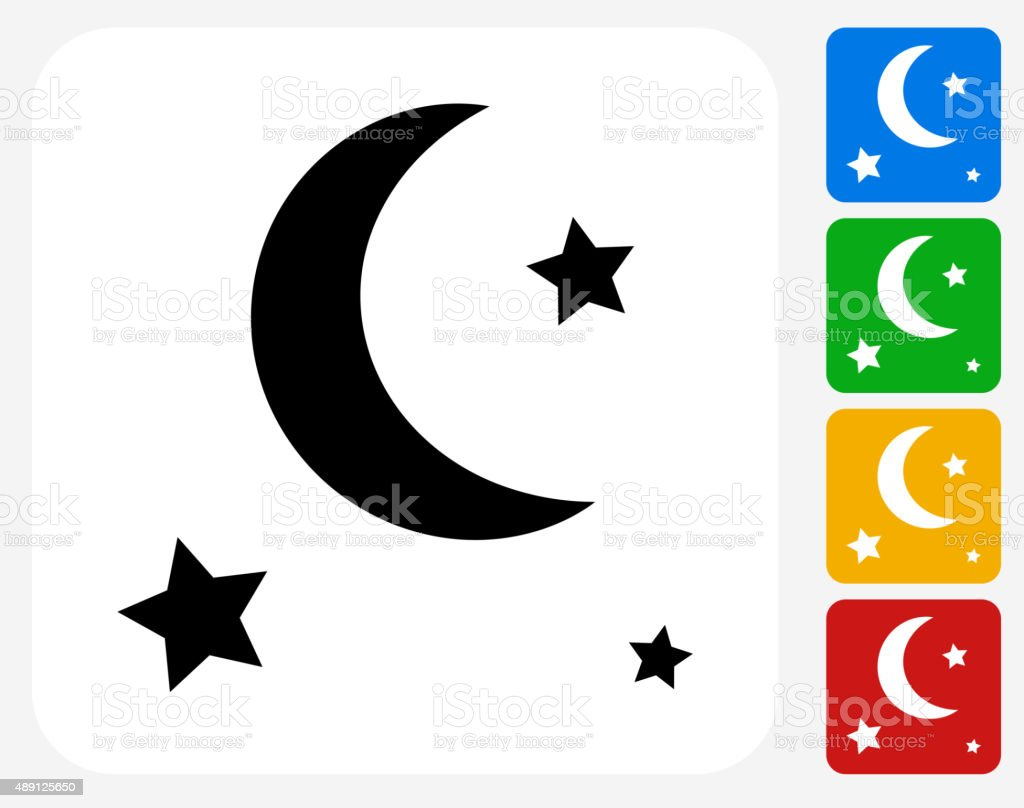 Stars and Moon Icon Flat Graphic Design vector art illustration