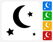 Stars and Moon Icon Flat Graphic Design