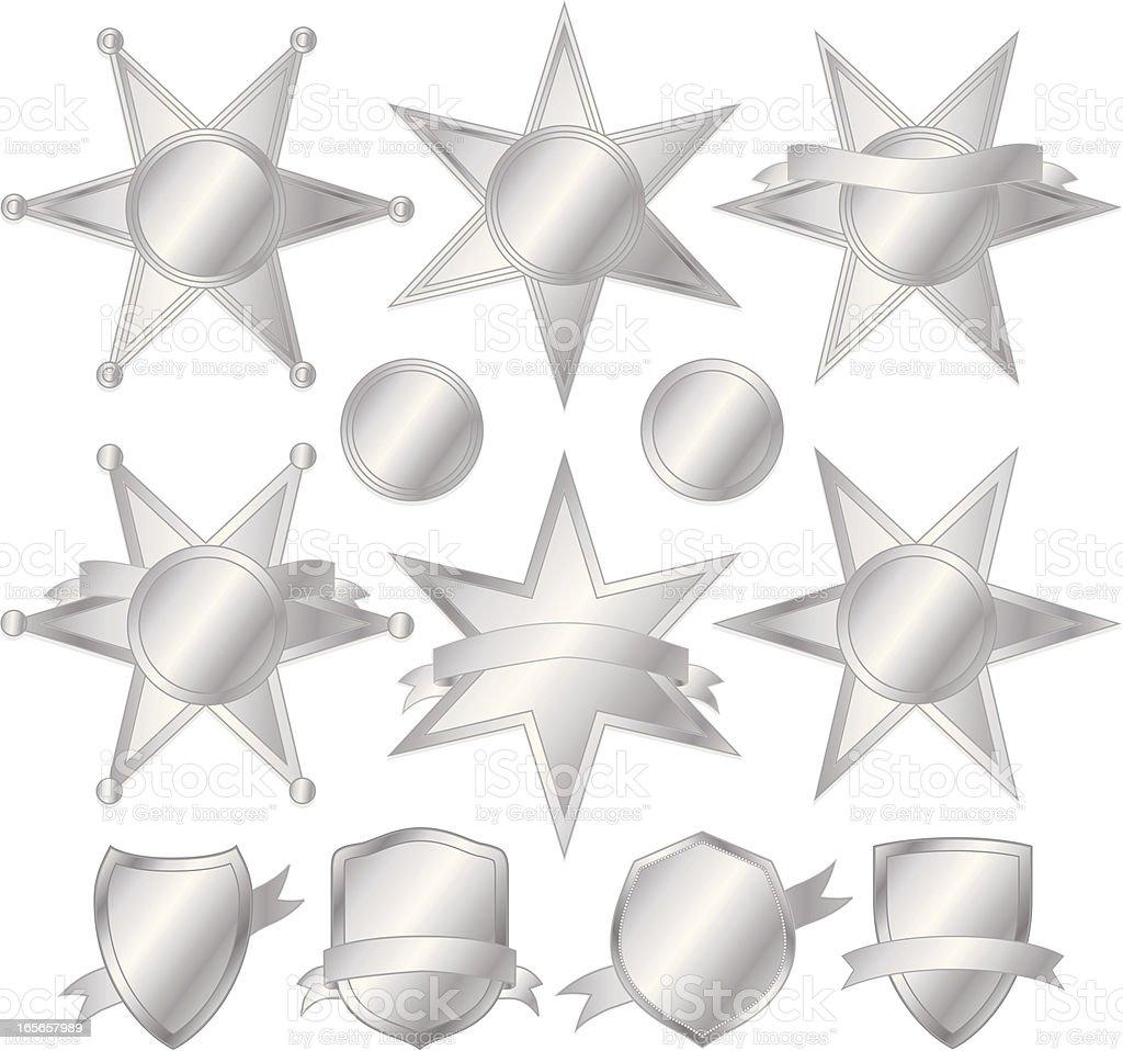 Stars und Polizei Embleme Set Silber Lizenzfreies vektor illustration