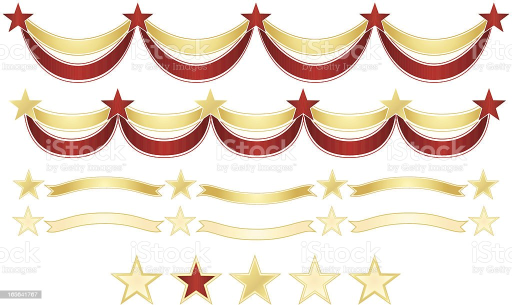 Stars and Ribbons Banners, Borders Set royalty-free stock vector art
