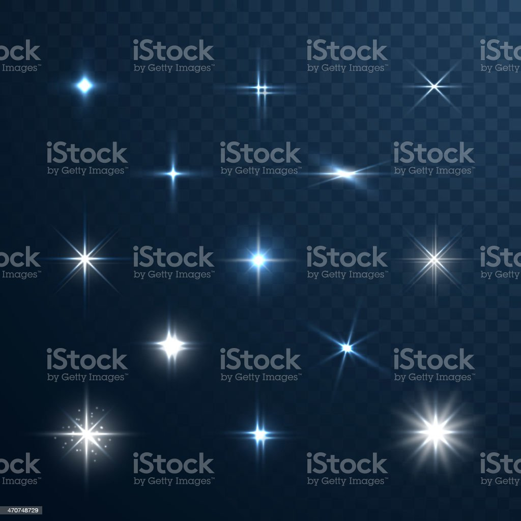 Stars and sparkles collection on transparent background vector art illustration