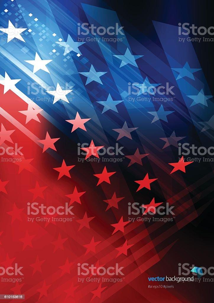 USA Stars and stripes background vector art illustration