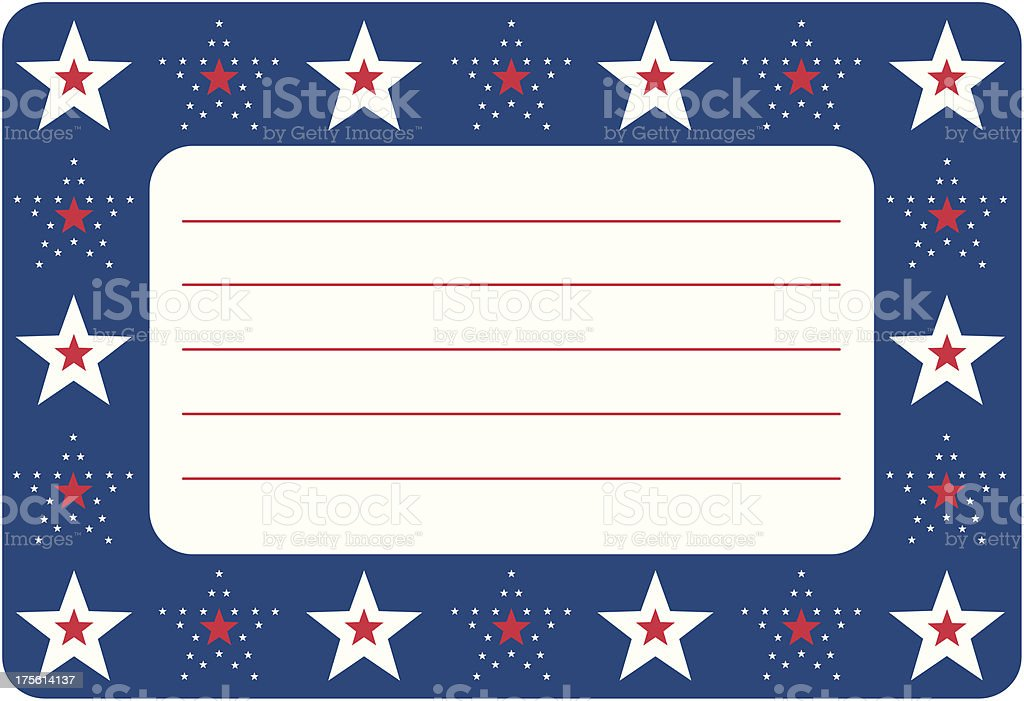 USA Stars and Stripes Frame or Border Design in Blue royalty-free stock vector art