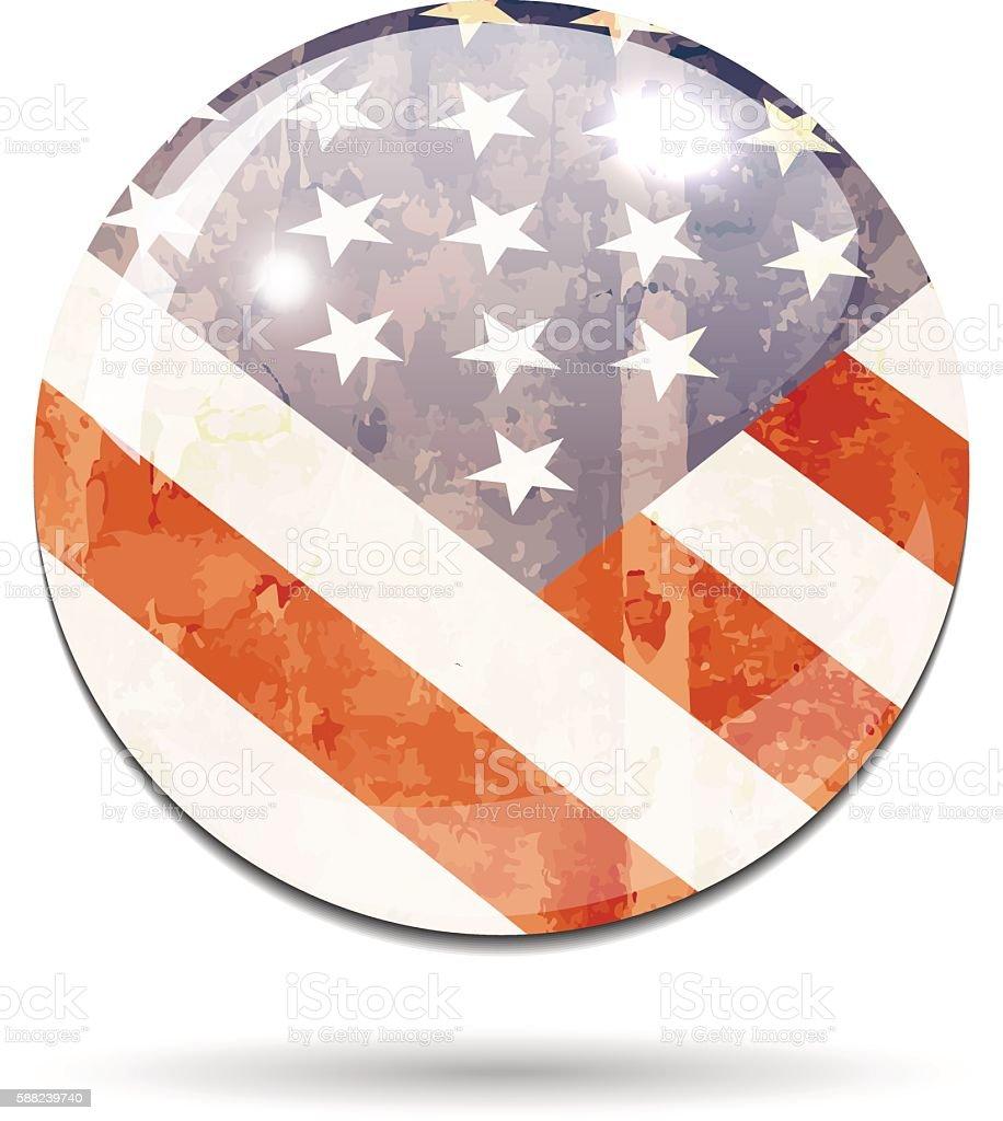 USA stars and stripes grunge light flag button vector art illustration