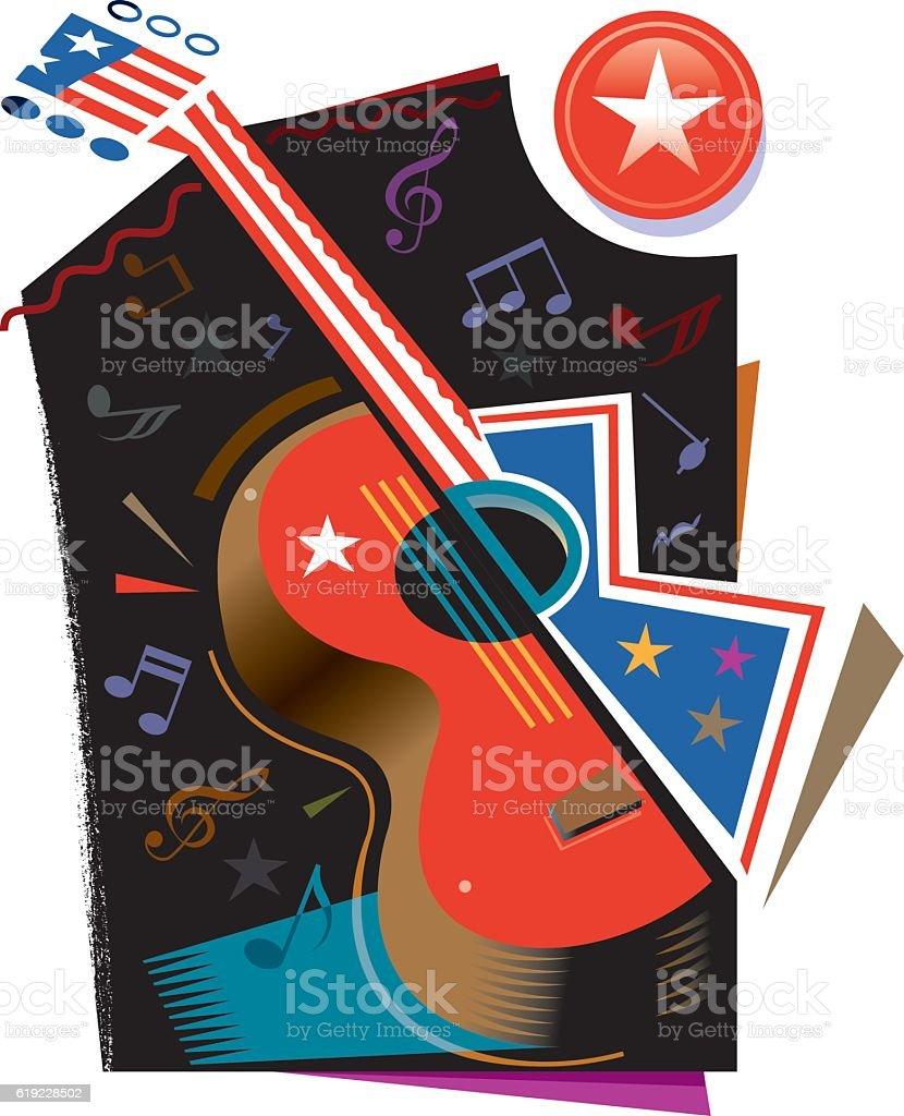 Stars and stripes guitar illustration vector art illustration