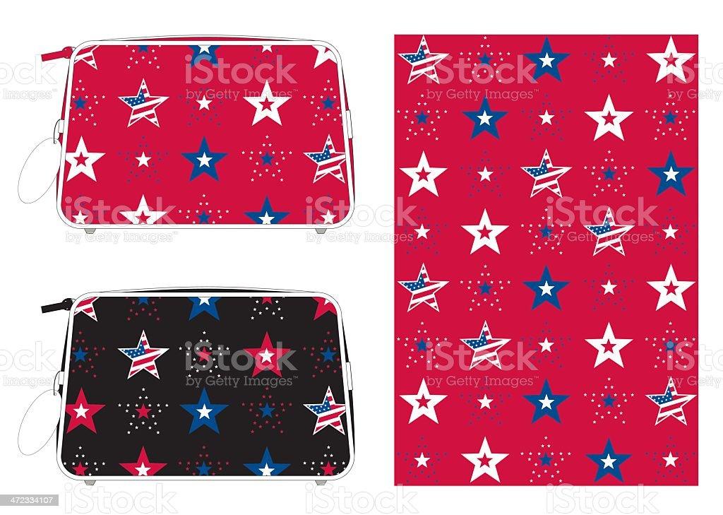 USA Stars and Stripes Patterned Washbag vector art illustration