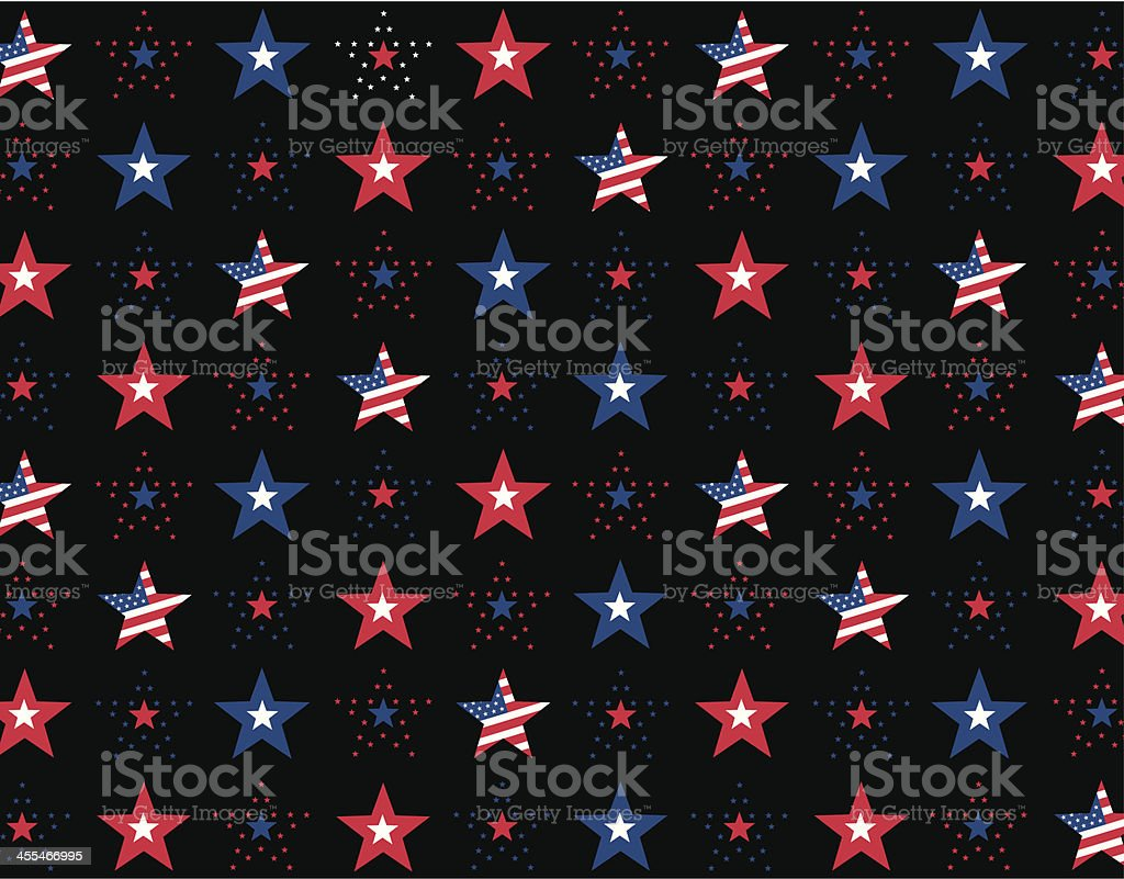 Stars and Stripes Repeat Pattern on a Black Background vector art illustration