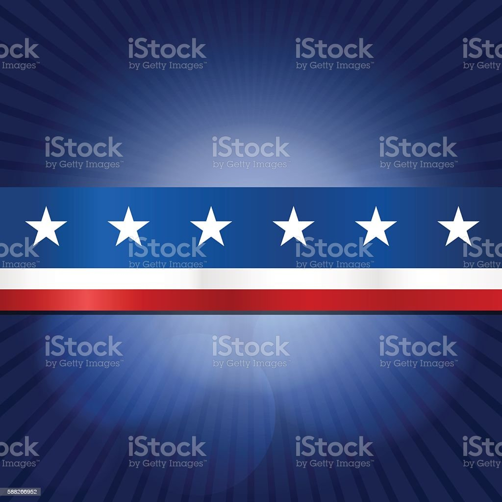 USA stars and stripes ribbon design with rays background vector art illustration