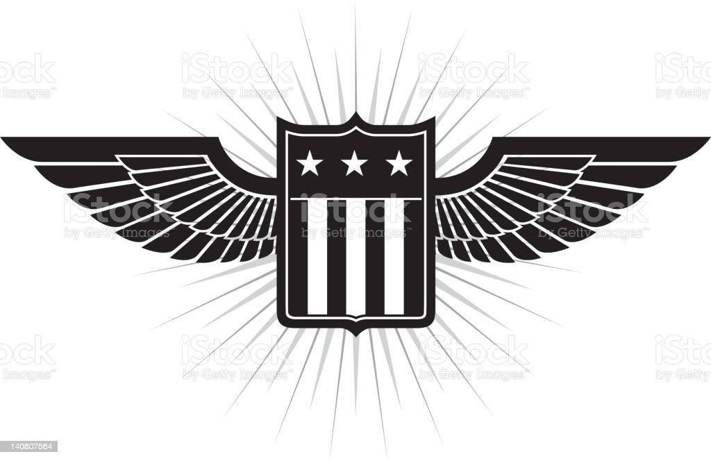 Stars and Stripes Shield royalty-free stock vector art