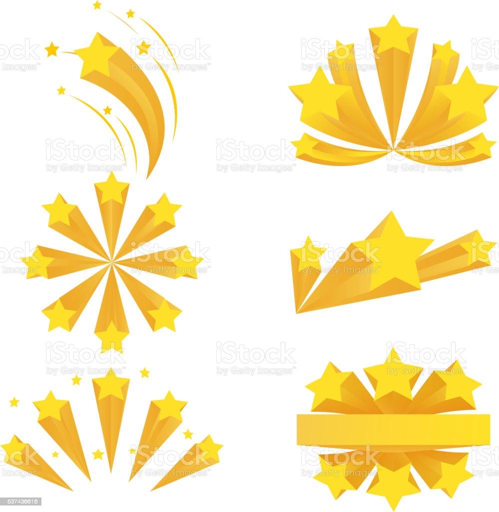 Stars burst elements. Vector on white background vector art illustration