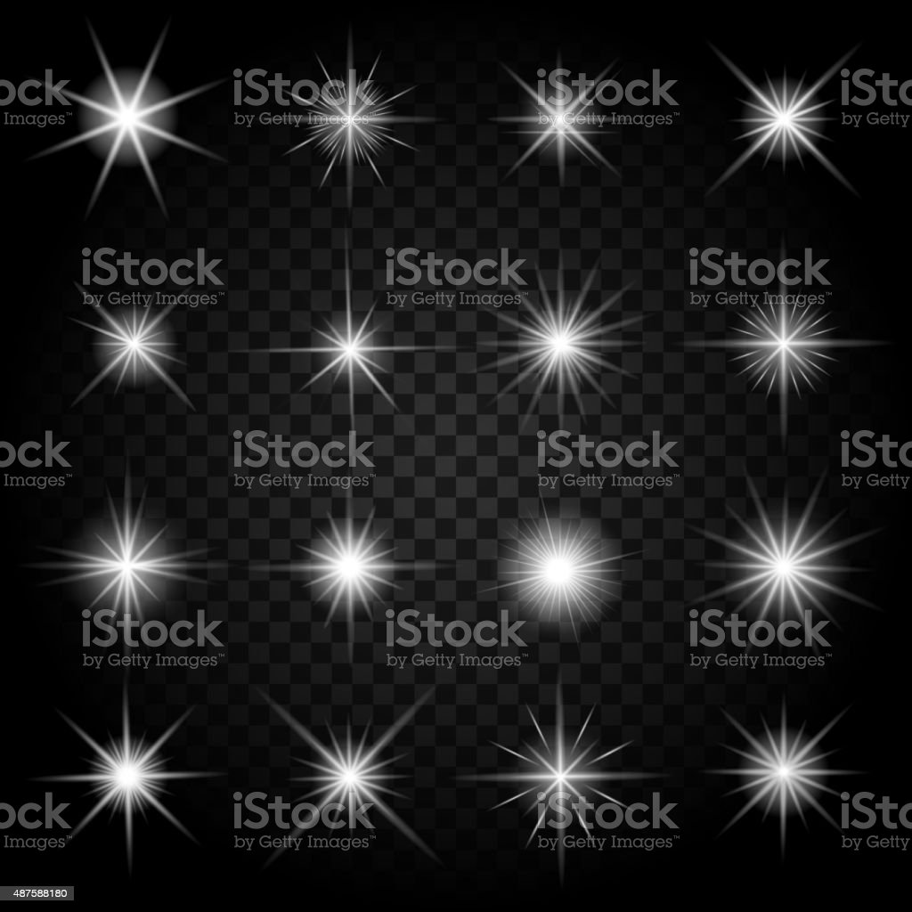 Stars bursts with sparkles and glowing light effects vector art illustration