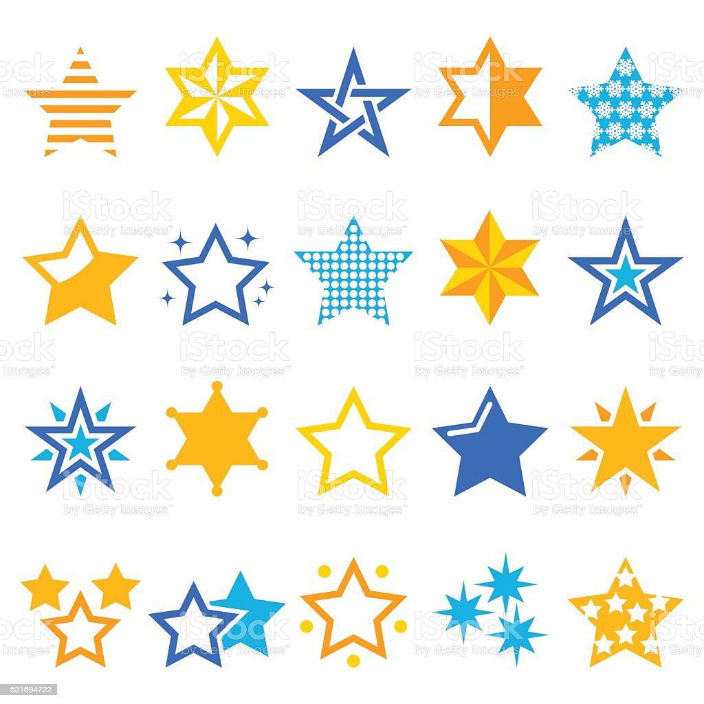 Winter Christmas icons set- stars and sparkles isolated on white