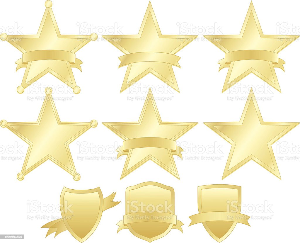 Stars, Police Badges, and Shields Set - Gold royalty-free stock vector art