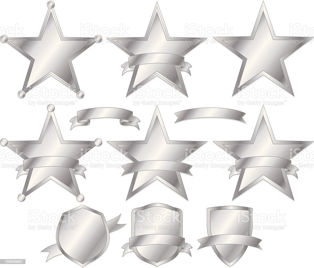 Stars, Police Badges, and Shields Set - Silver royalty-free stock vector art