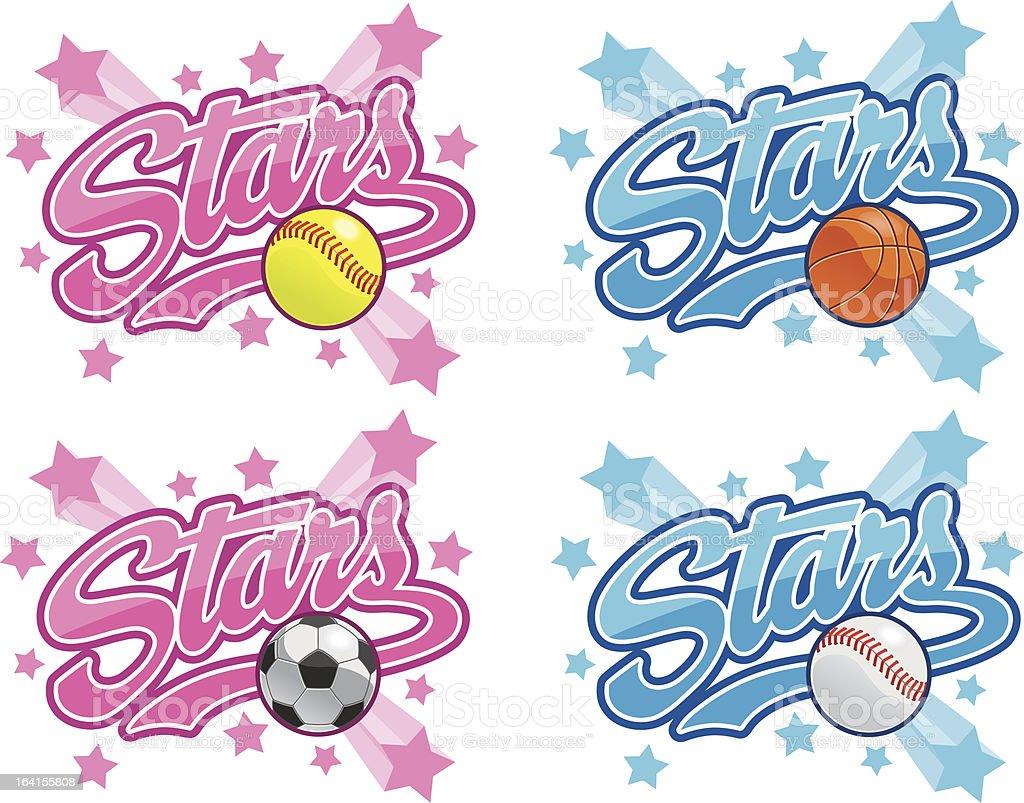 Stars Team logos royalty-free stock vector art