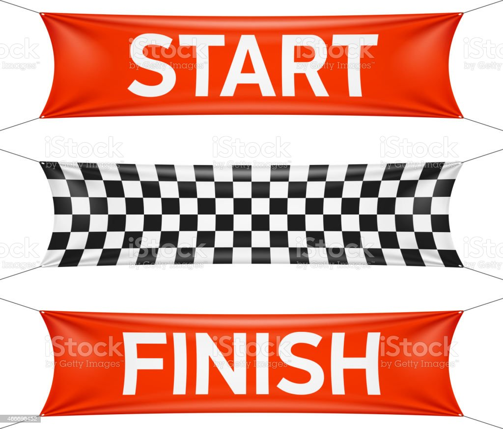 Start and finish race banners in red and checkers vector art illustration