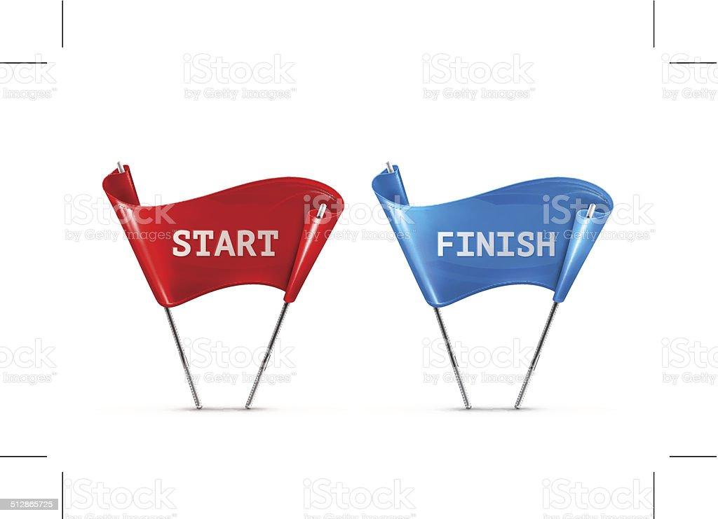 Start and Finish vector art illustration