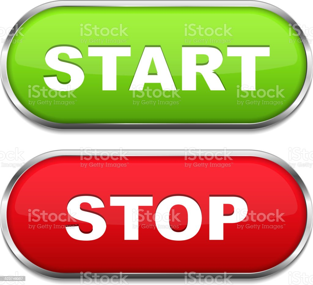 Start and Stop Buttons vector art illustration