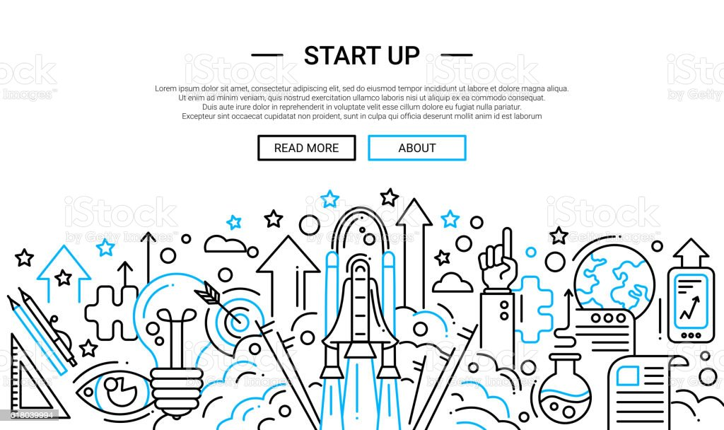 Start Up - line design website banner temlate vector art illustration