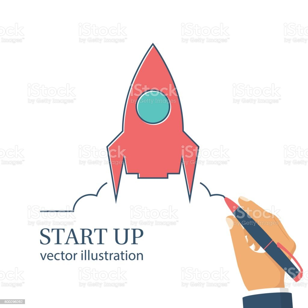 Start up new business project vector art illustration