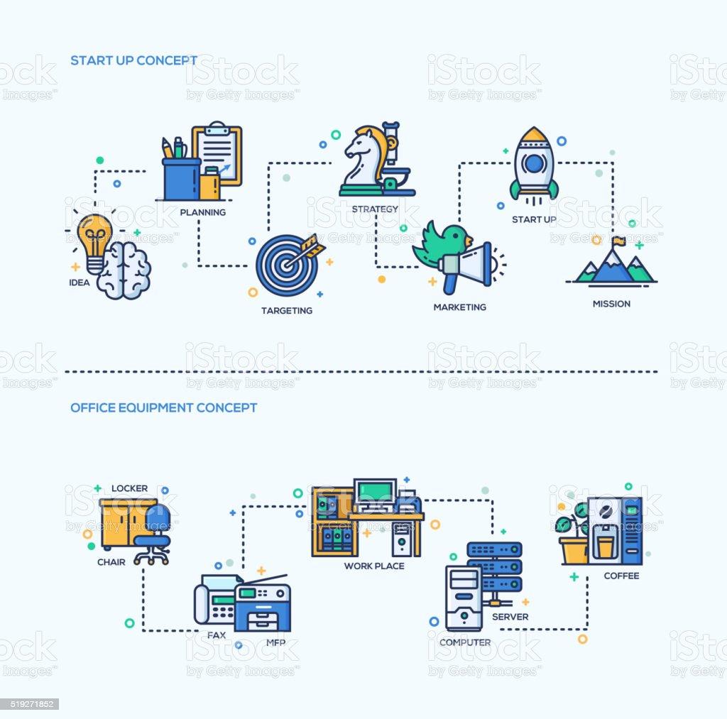 Start Up, Office Equipment Business Concept Compositions Set vector art illustration
