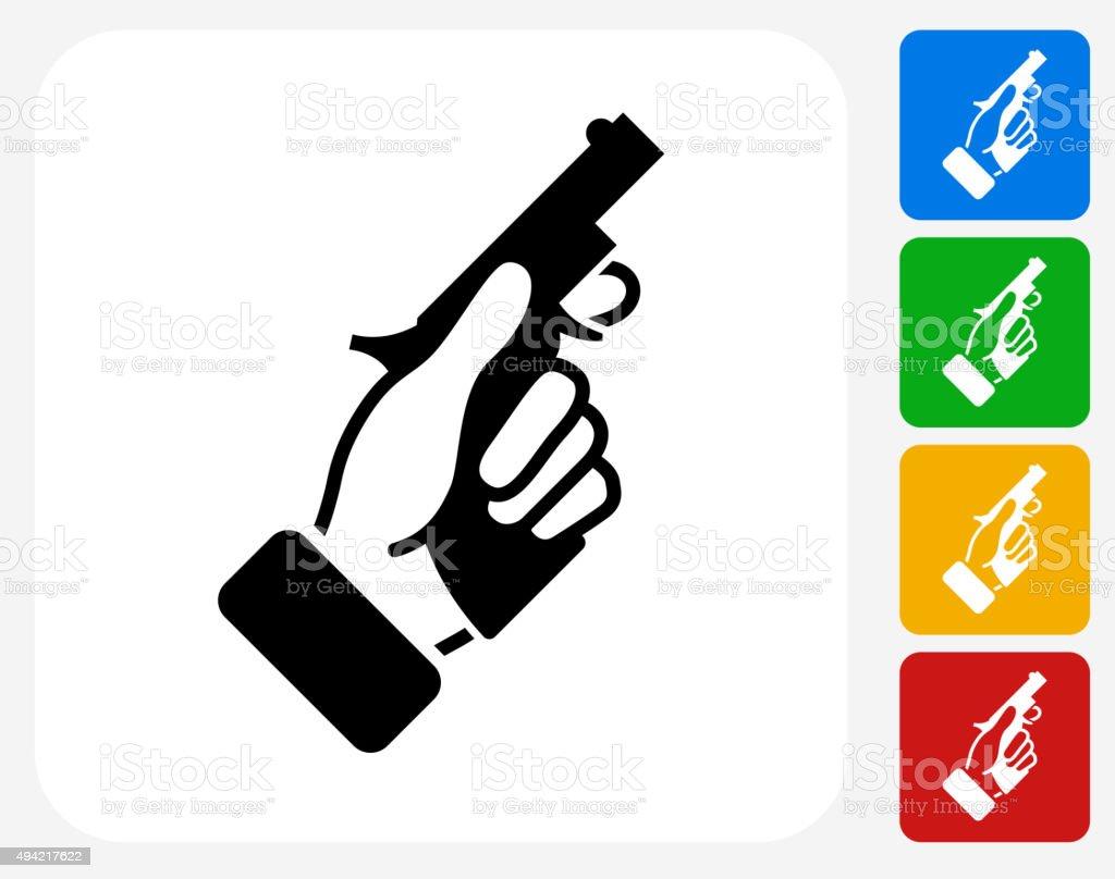 Starter Pistol Icon Flat Graphic Design vector art illustration