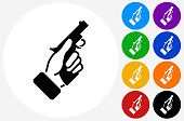 Starter Pistol Icon on Flat Color Circle Buttons