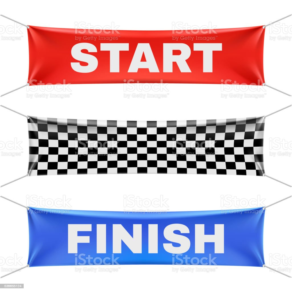 Starting, finishing, and checkered vinyl banners with folds. Vector set vector art illustration