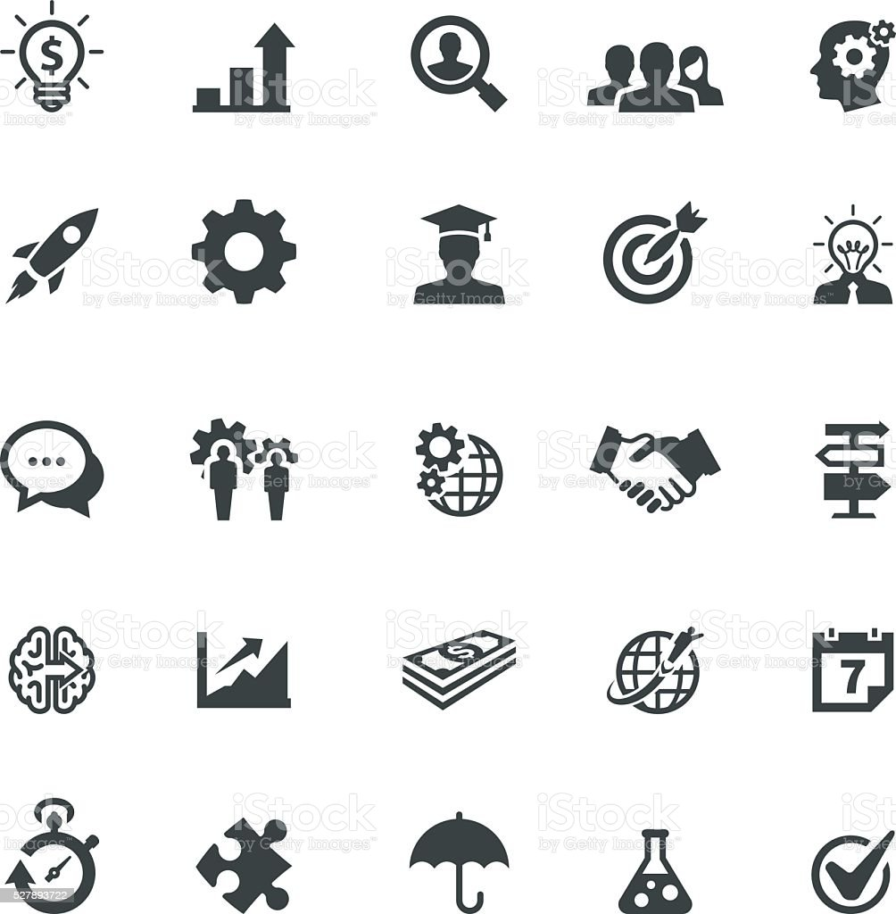 Startup and Strategy Icons vector art illustration