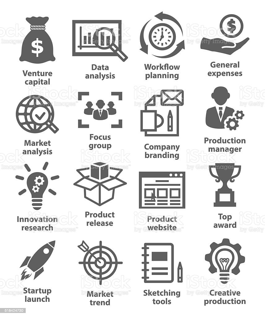 Startup business and development icons vector art illustration