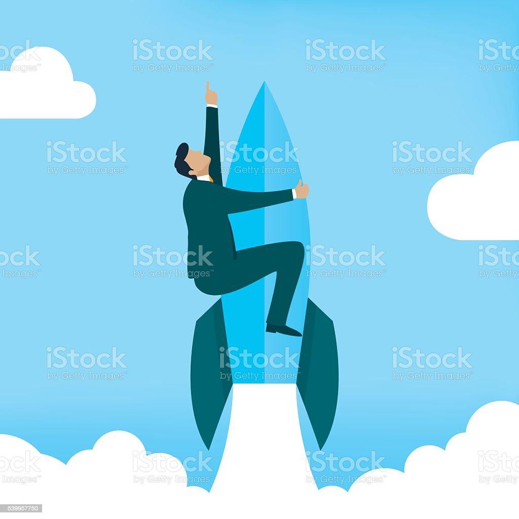 Startup Business. Businessman on a rocket vector art illustration