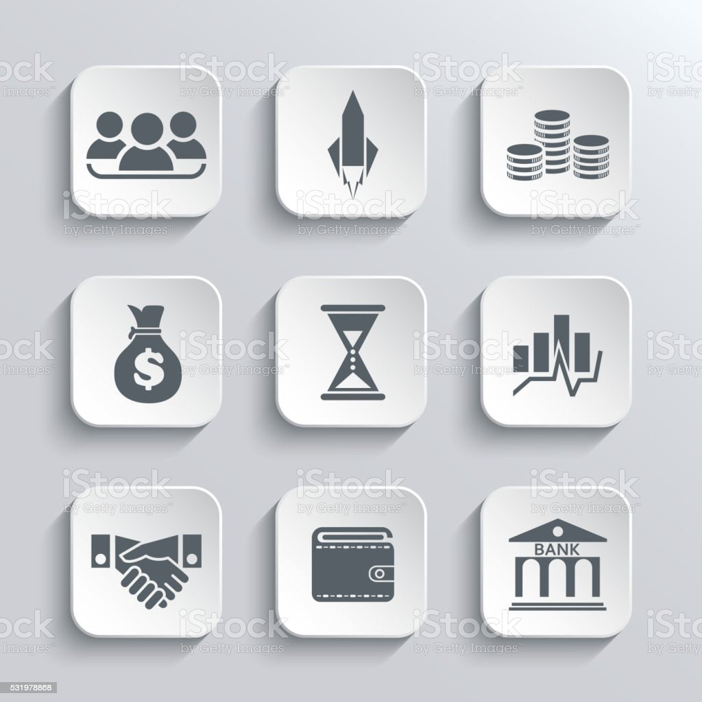 Startup business icon web  icons set vector art illustration