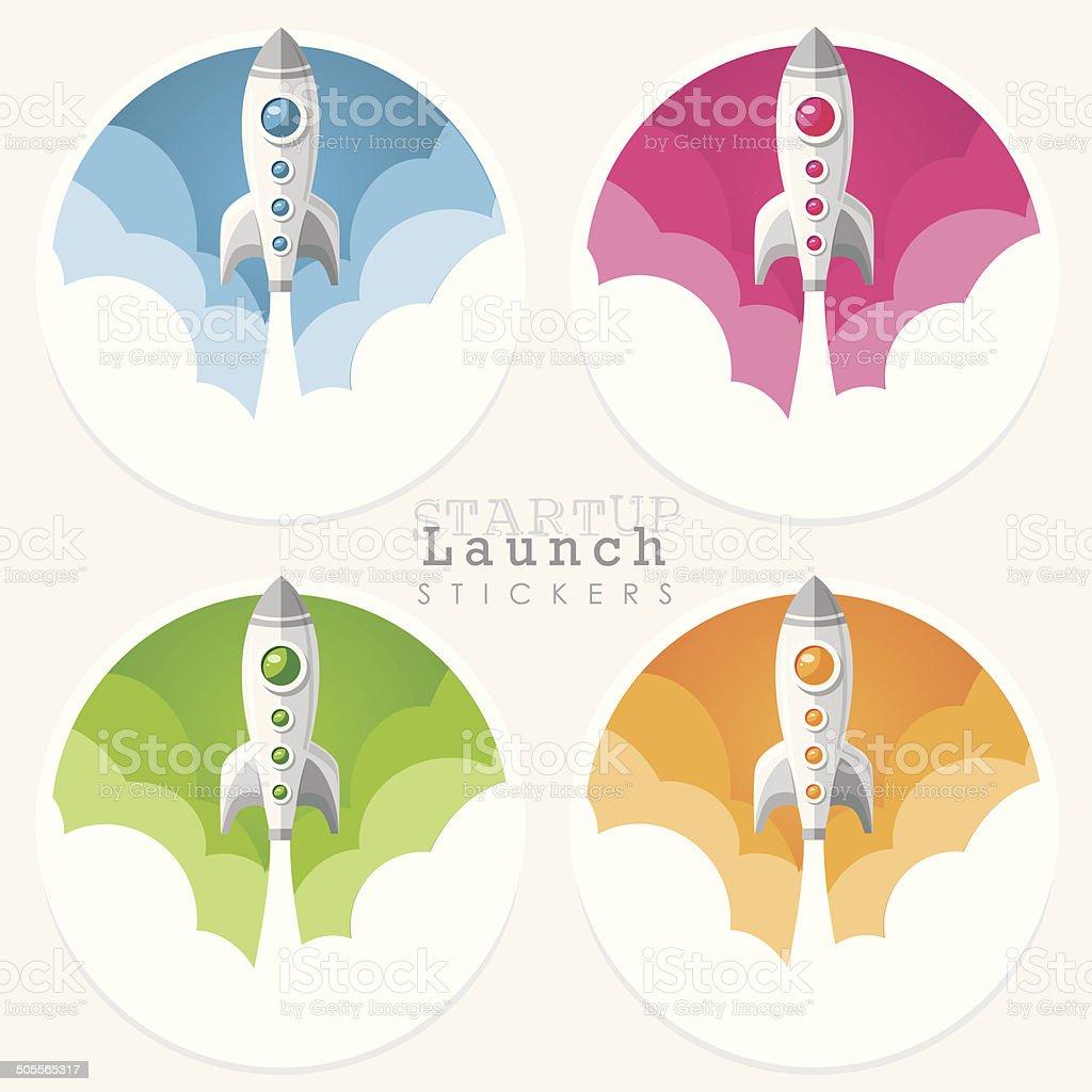 startup launch rocket icon stickers vector art illustration