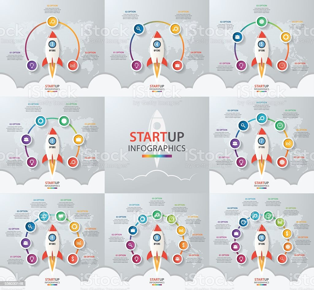 Startup vector circle infographic set with rocket launch vector art illustration