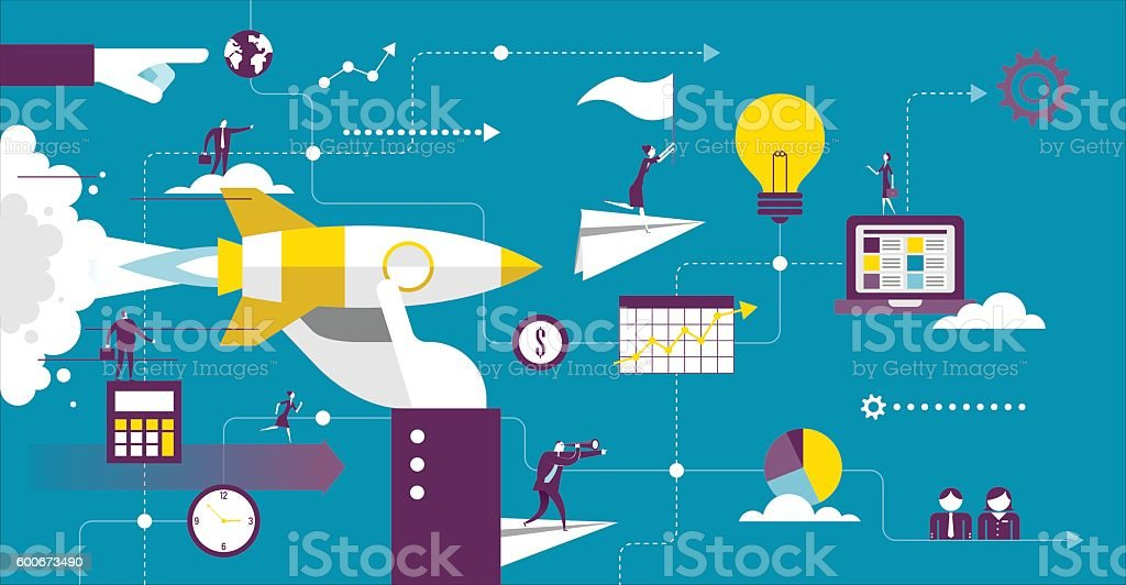 Startup vector art illustration