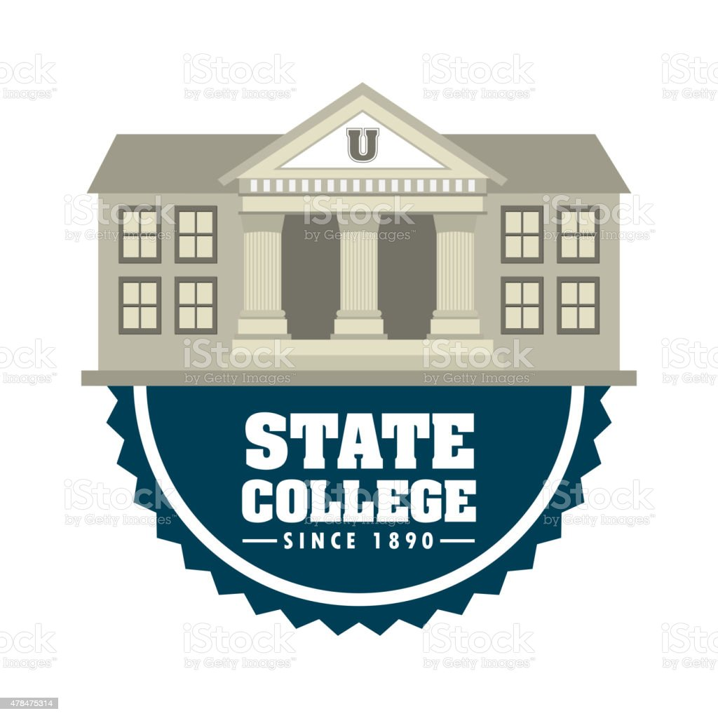 state college vector art illustration