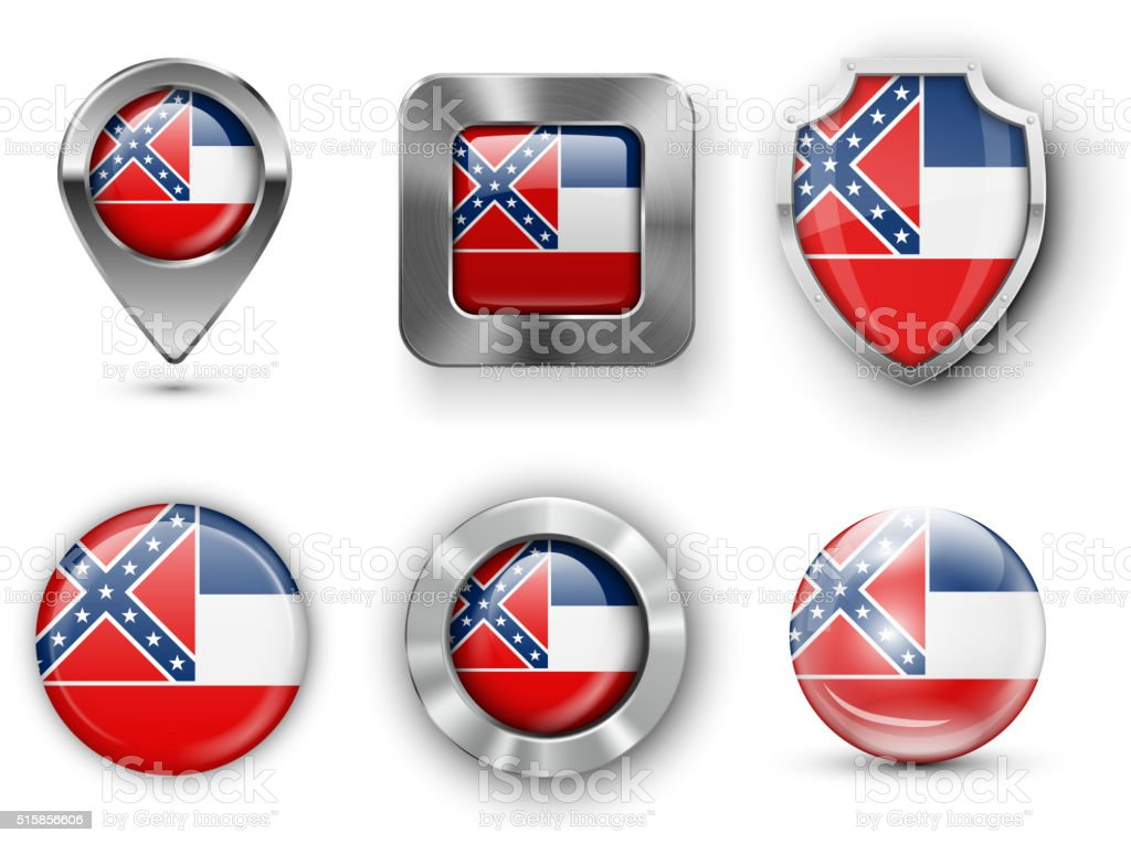 USA State Flag Badges vector art illustration