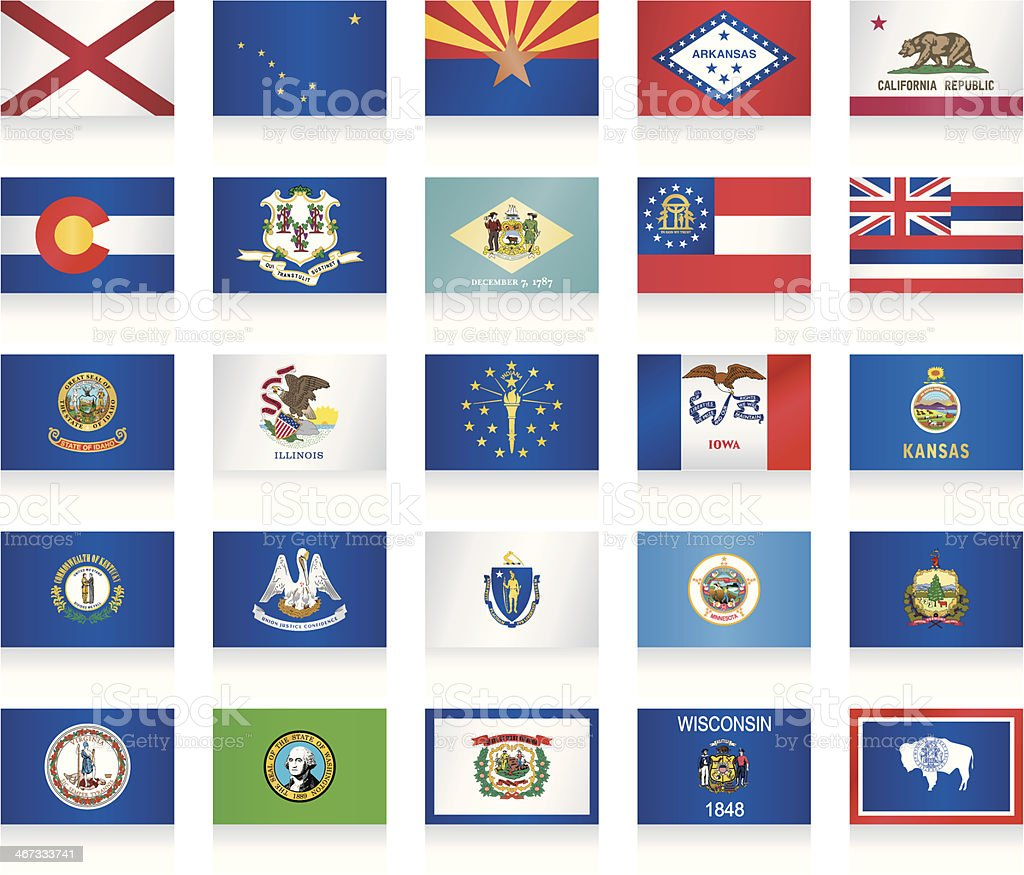 USA state flags collection vector art illustration