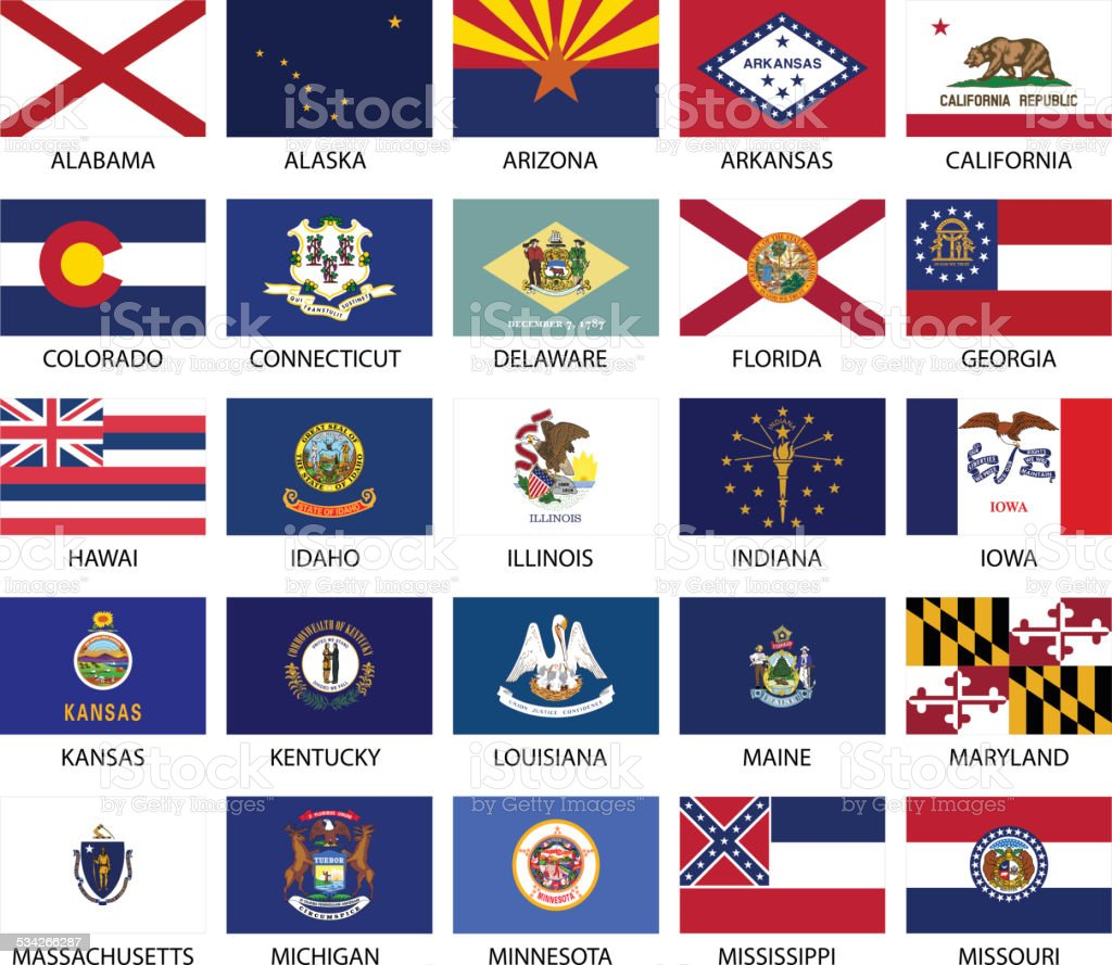 State Flags vector art illustration